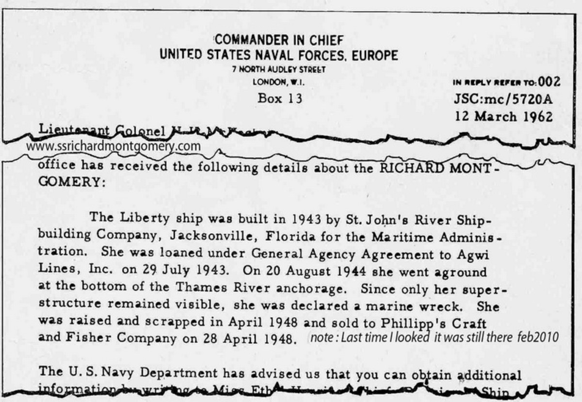 Letter from US Government claiming Richard Montgomery raised and salvaged in 1948.