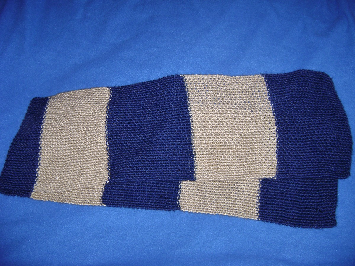 Ravenclaw scarf in book colors of blue and bronze.