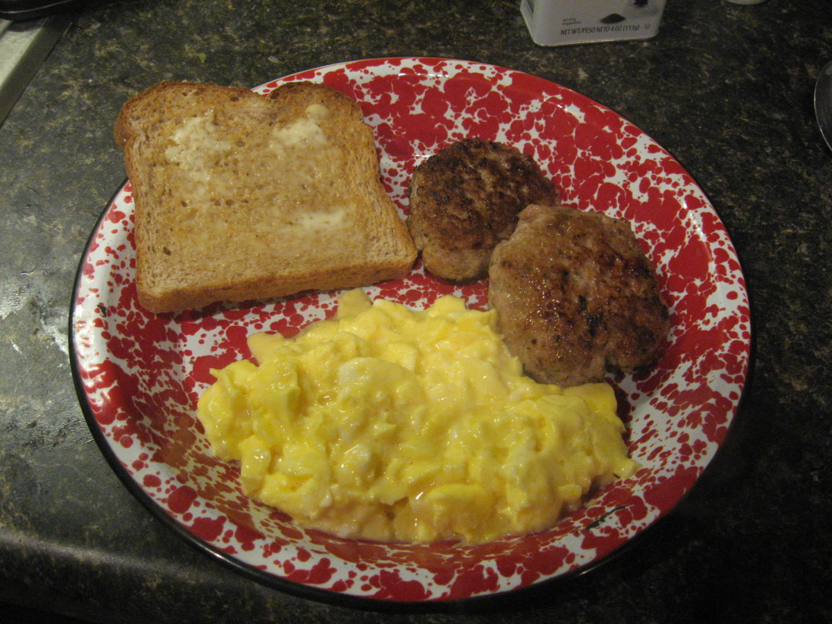 homemade sausage, scrambled eggs, and low carb toast