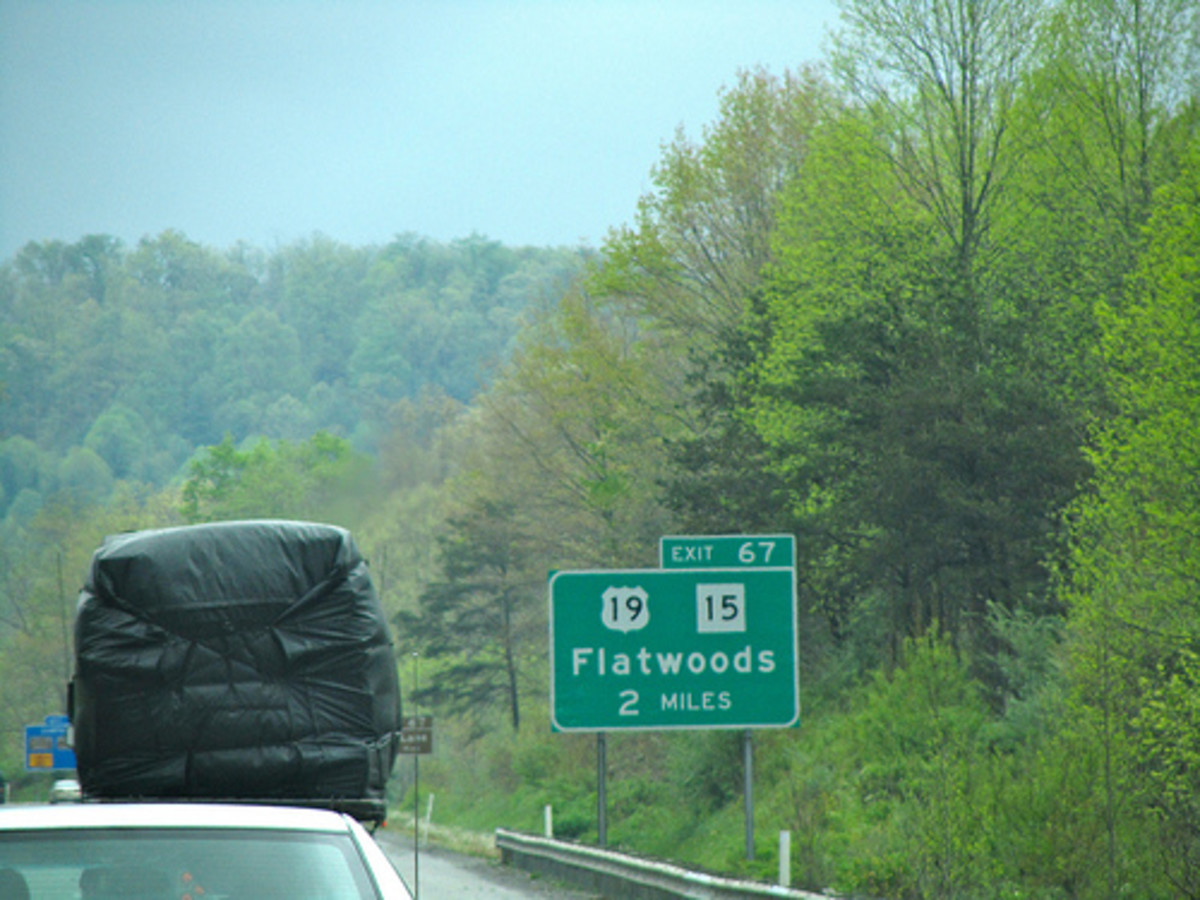 The two mile marker on the way to Flatwoods, WV, home of the Braxton County Monster.