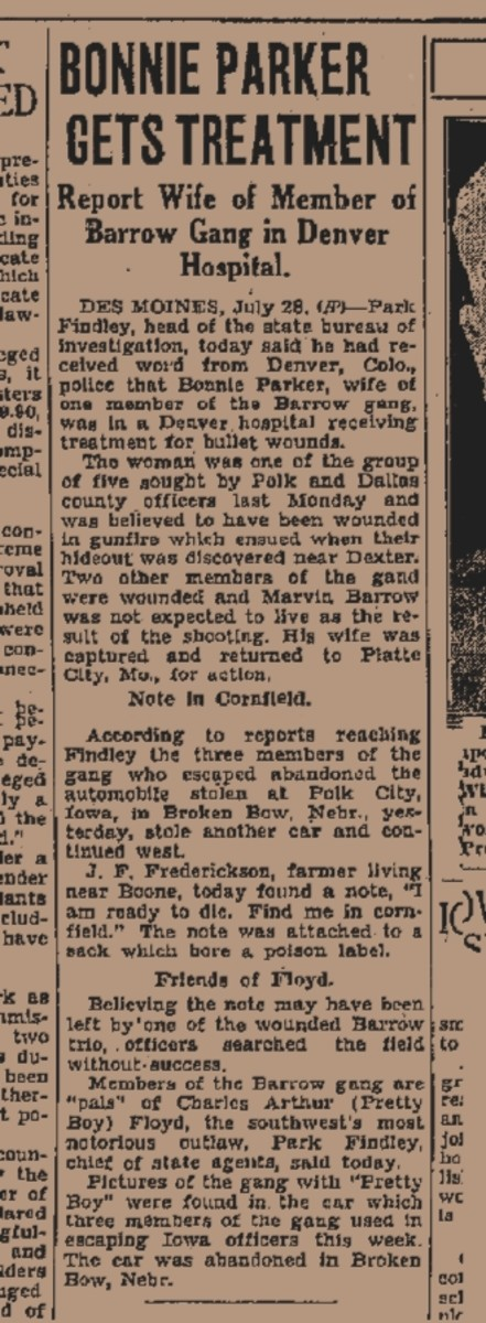 Denver news article on Bonnie Parker's treatment