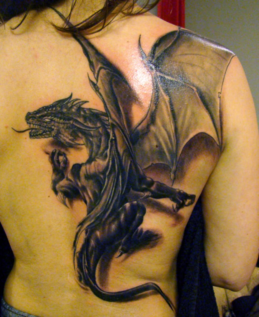 Full Back piece dragon tattoo