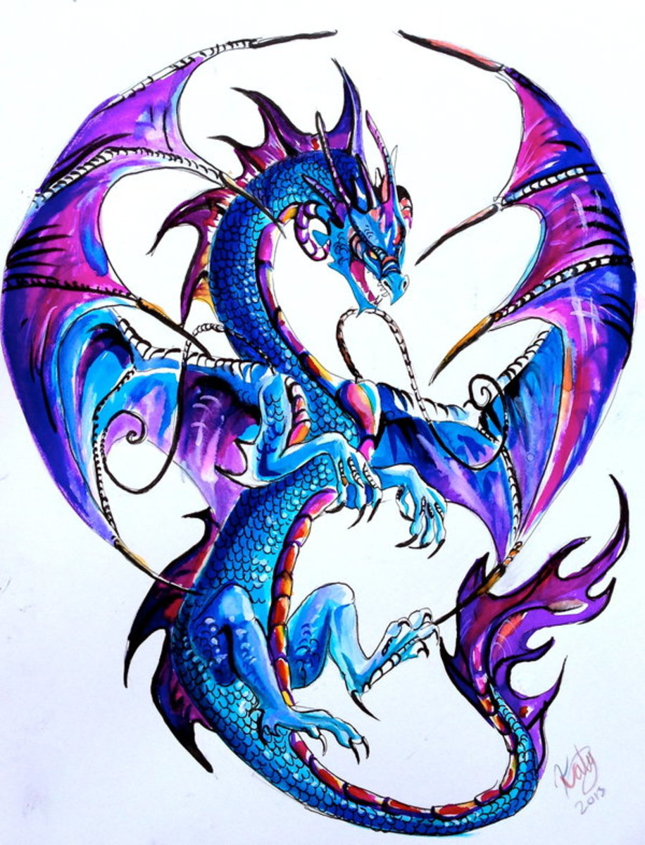 Purple and blue dragon tattoo