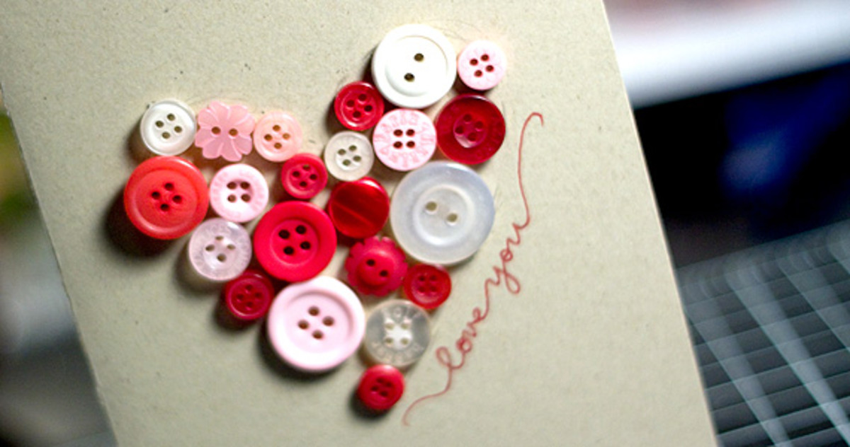 Vintage Button Heart Card DIY