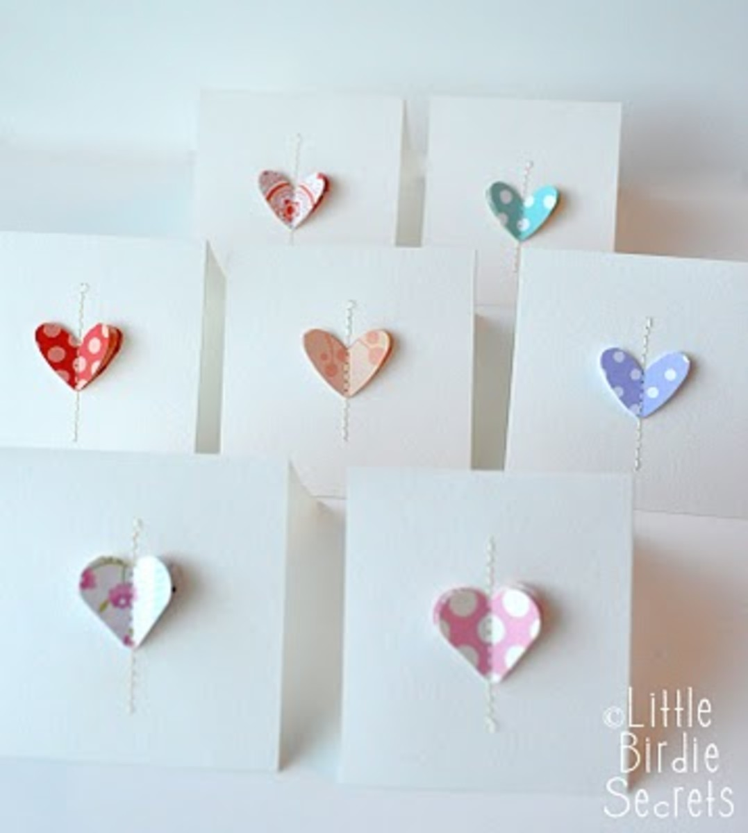 Stitched Paper Heart Valentines Cards