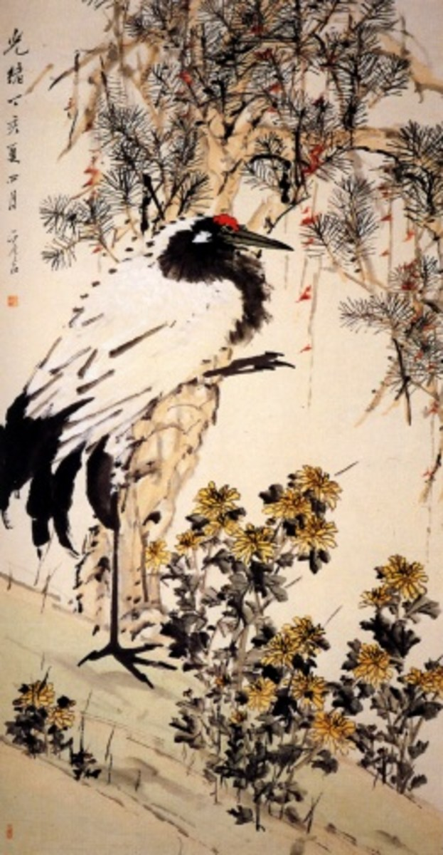 """Long Living Pine and Crane"" by Xu Gu (1824-1896). This painting features a Red-Crowned Crane that nearly became the national bird of China."