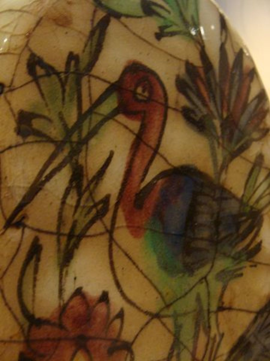A 19th century Persian earthenware jar depicting a crane on display at the San Antonio Museum of Art in San Antonio, TX, USA.