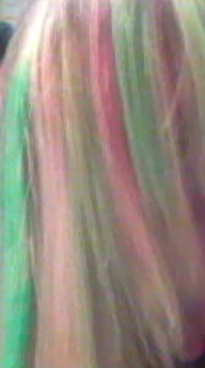 Pink and mint green streaks from food coloring