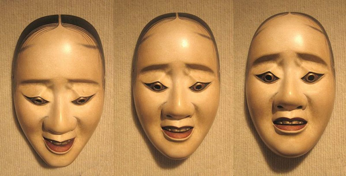 Noh mask from Japan. The same face slightly tilted.