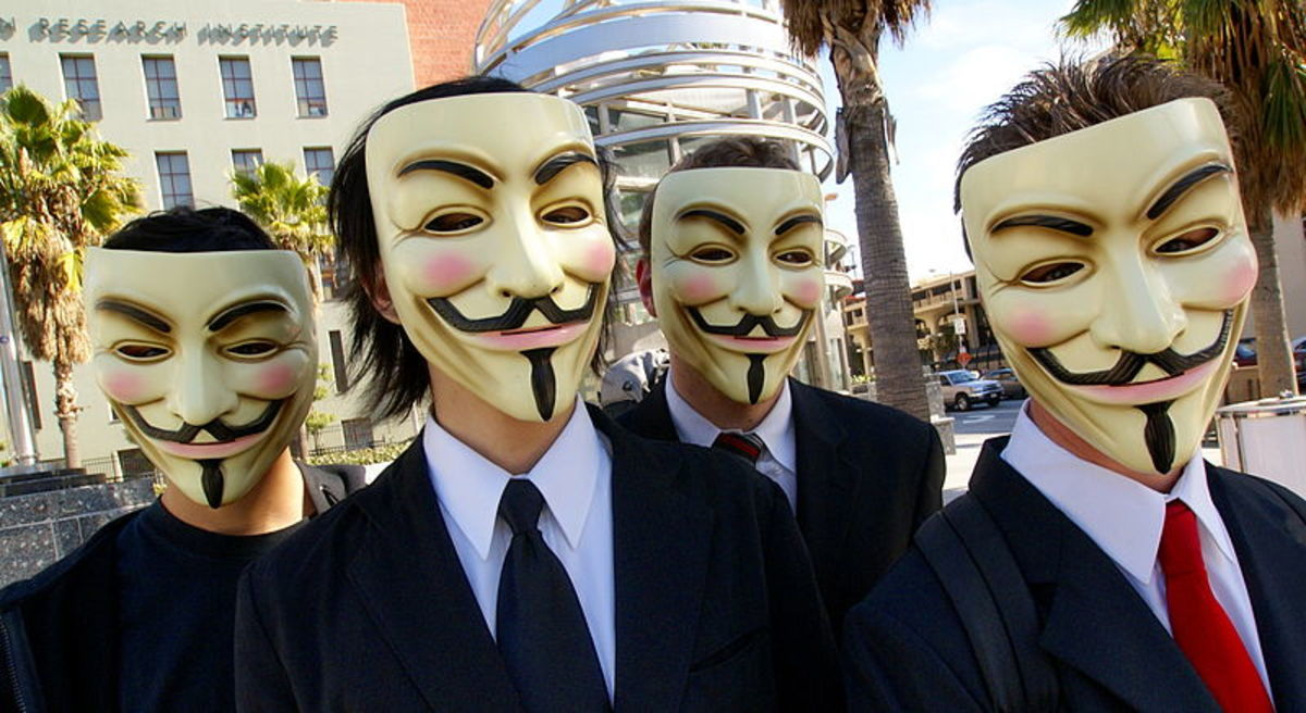Guy Fawkes masks at a demonstration.