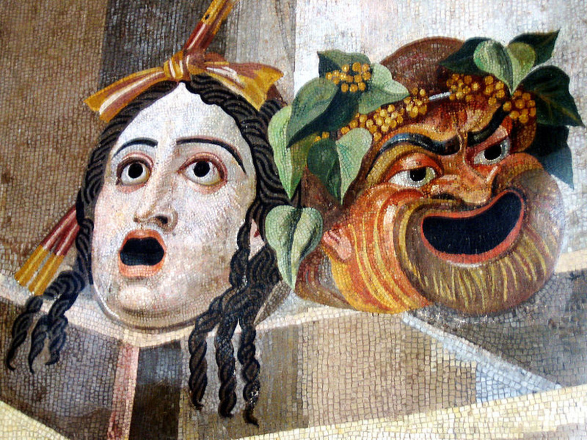 Roman theatre masks. Tragedy and comedy.