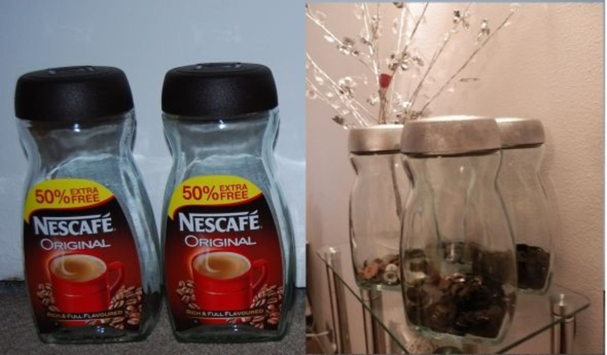 recycle old coffee jar to handy holder