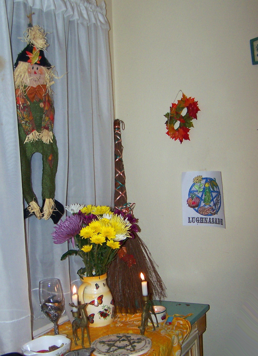 Our family harvest altar-- besom is seen against the wall.
