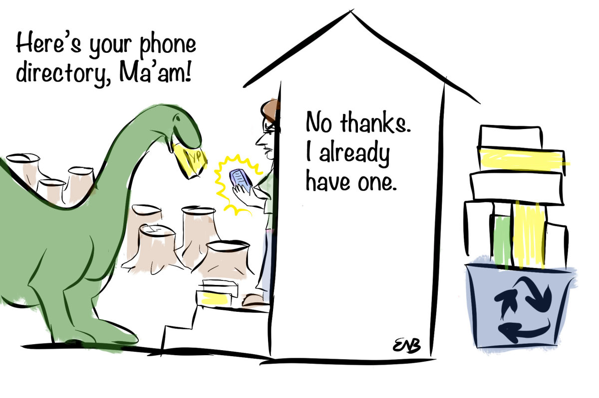 """I drew this today after getting off the phone with AT&T to find out why it was ignoring the """"opt out"""" program that has been listed on the cover of its directories for several years."""