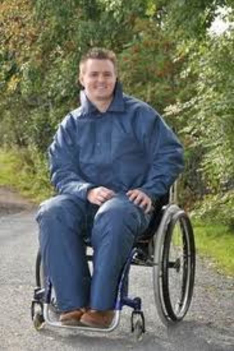 Wheelchair jacket and Chaps (which look like trousers)