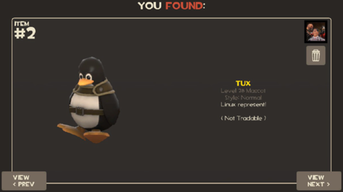 Tux Linux promotional TF2 item