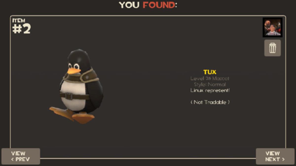 Tux Linux promotional TF2 item