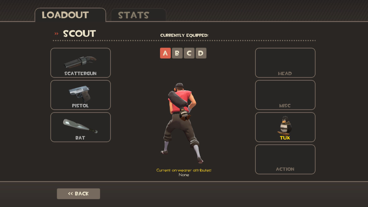 Scout with Tux attached to the misc slot.