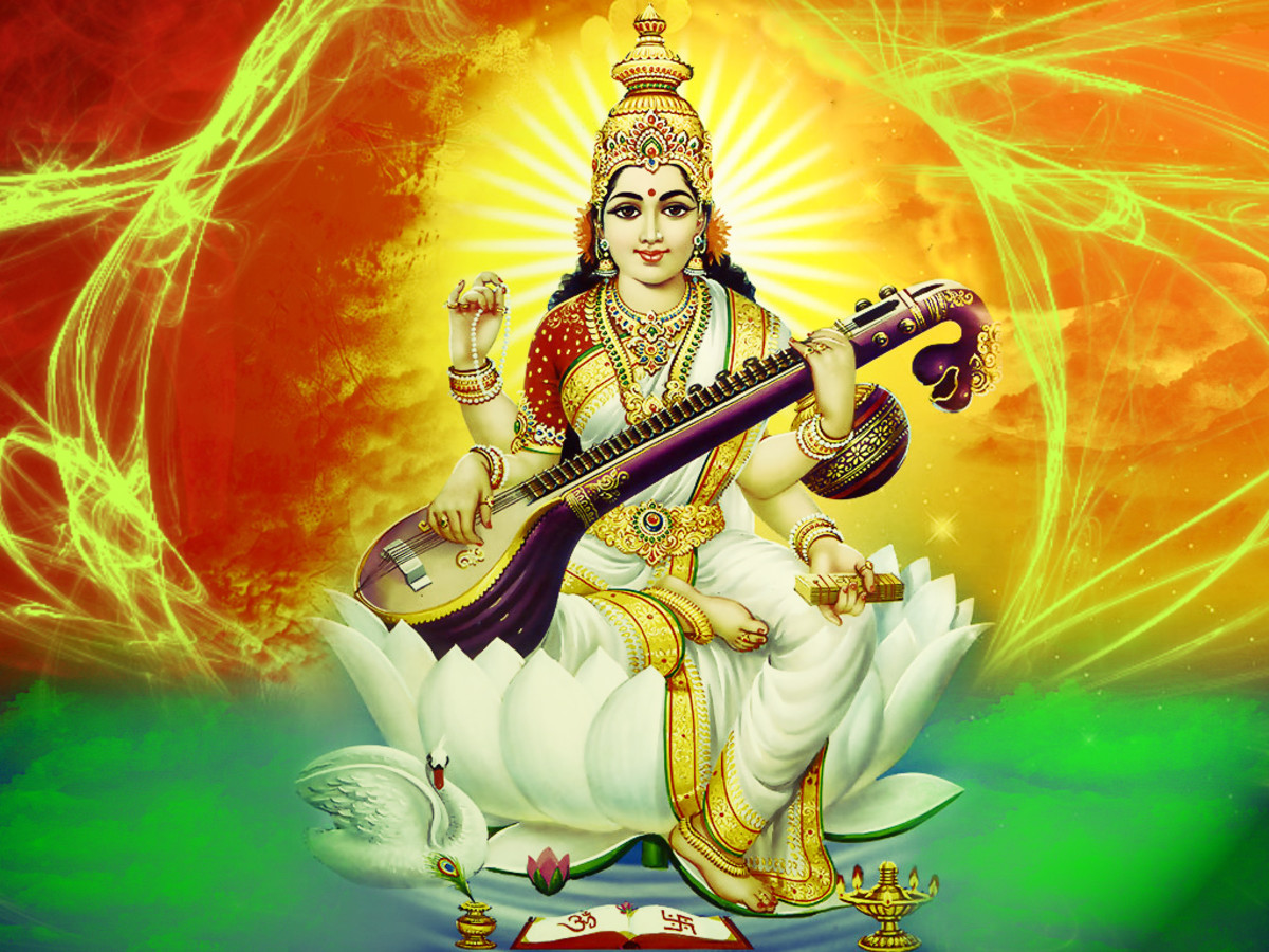 Goddess Sarasvati, contemporary depiction scanned and retouched