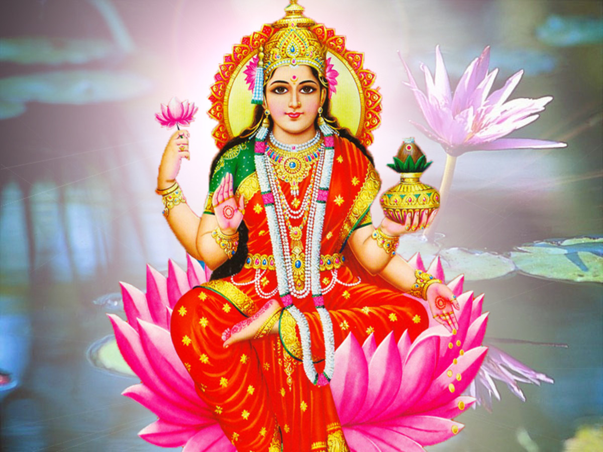 Hindu Goddess Laksmi by unknown artist, photographed and retouched by Vinaya