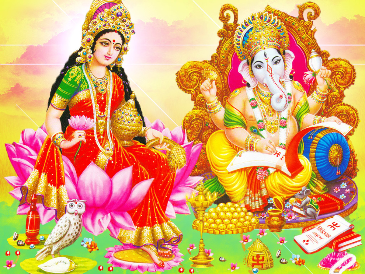 Goddess Laksmi and Lord Ganesha, contemporary representation scanned and retouched