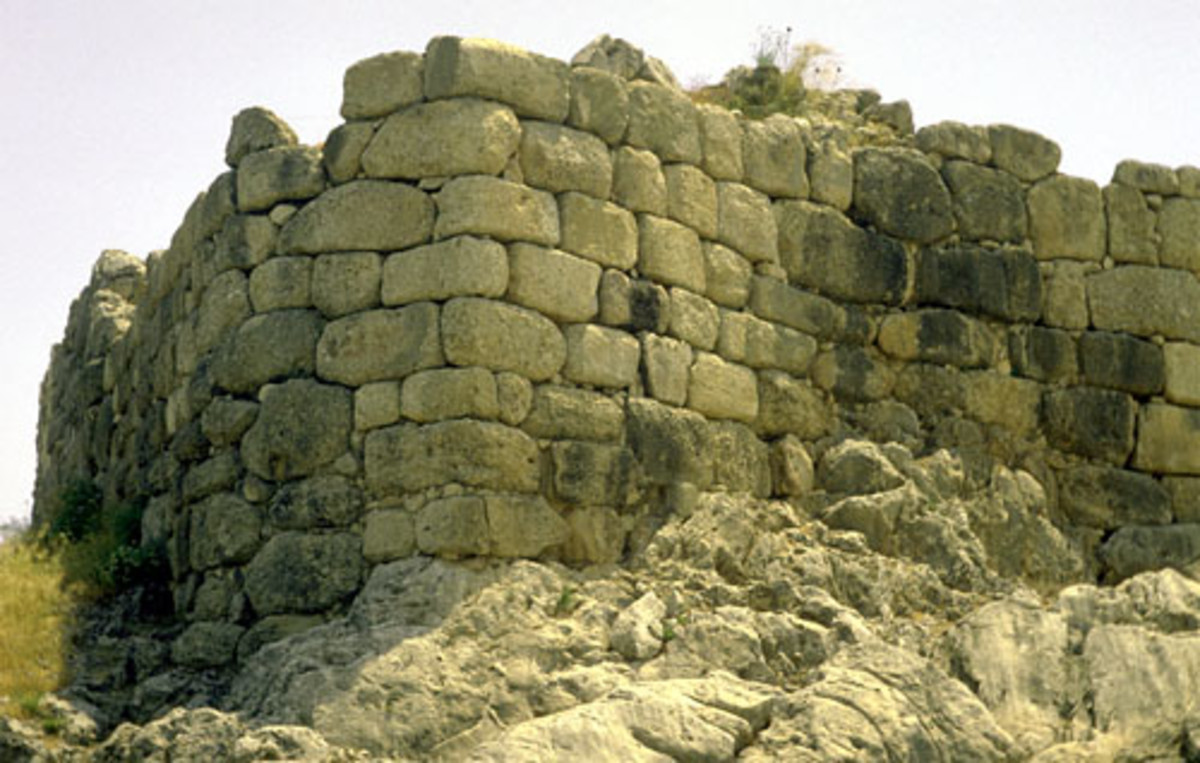 The large cyclopean walls of the city of Mycenae