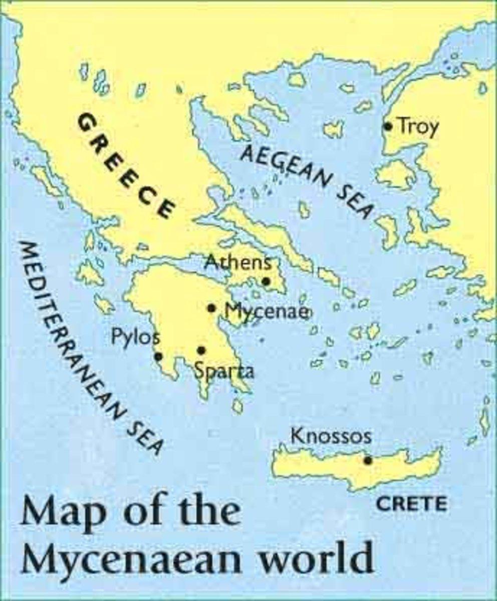 Map of the Mycenaean world