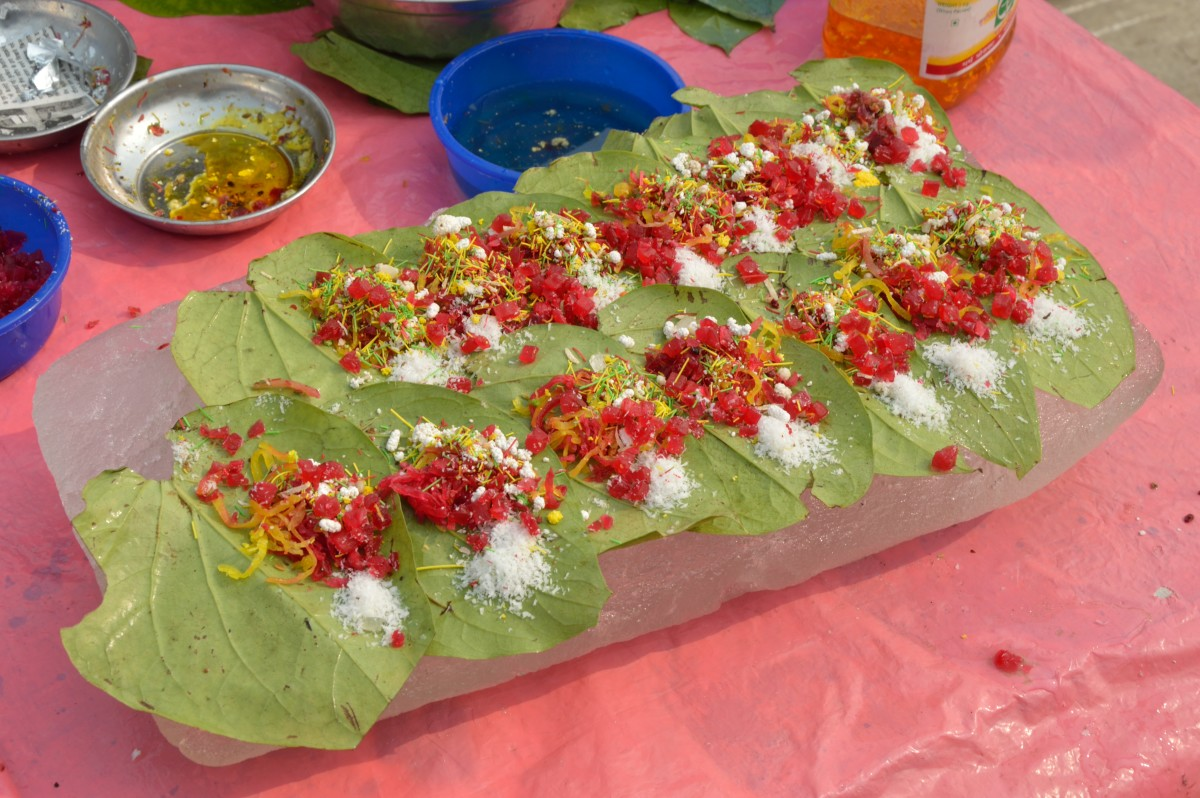 ingredients in a sweet paan before being folded