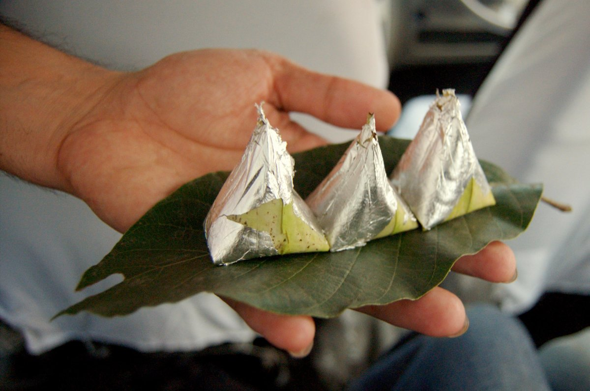 Paan wrapped in aluminium foil