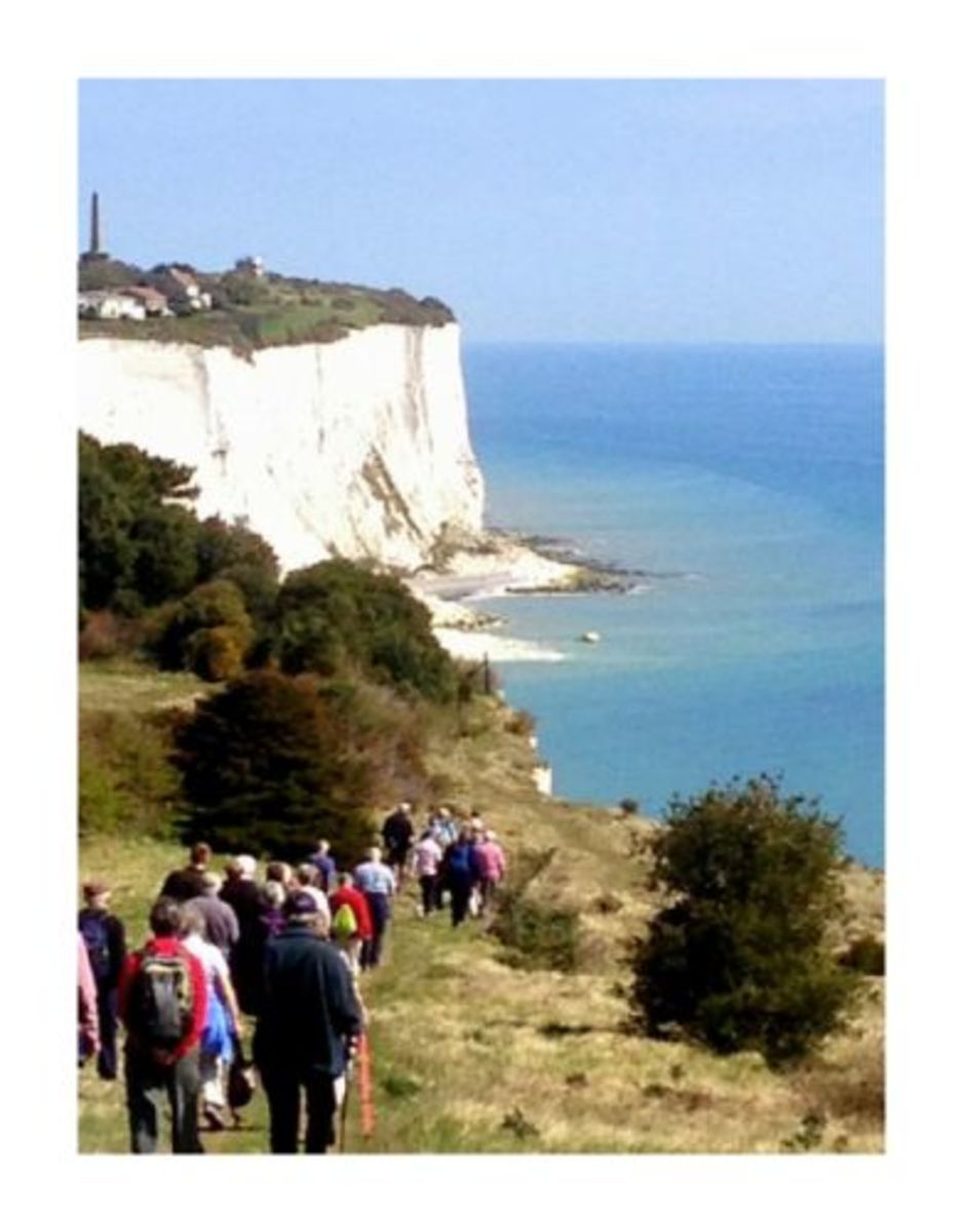 Walkers on the White Cliffs approaching landslide