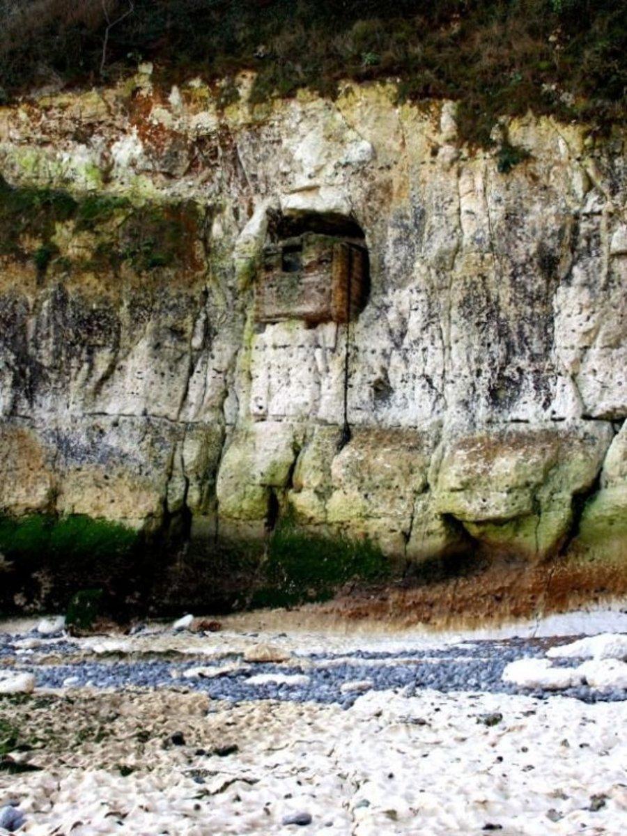 Gun emplacement in the cliffs at St Margaret's Bay