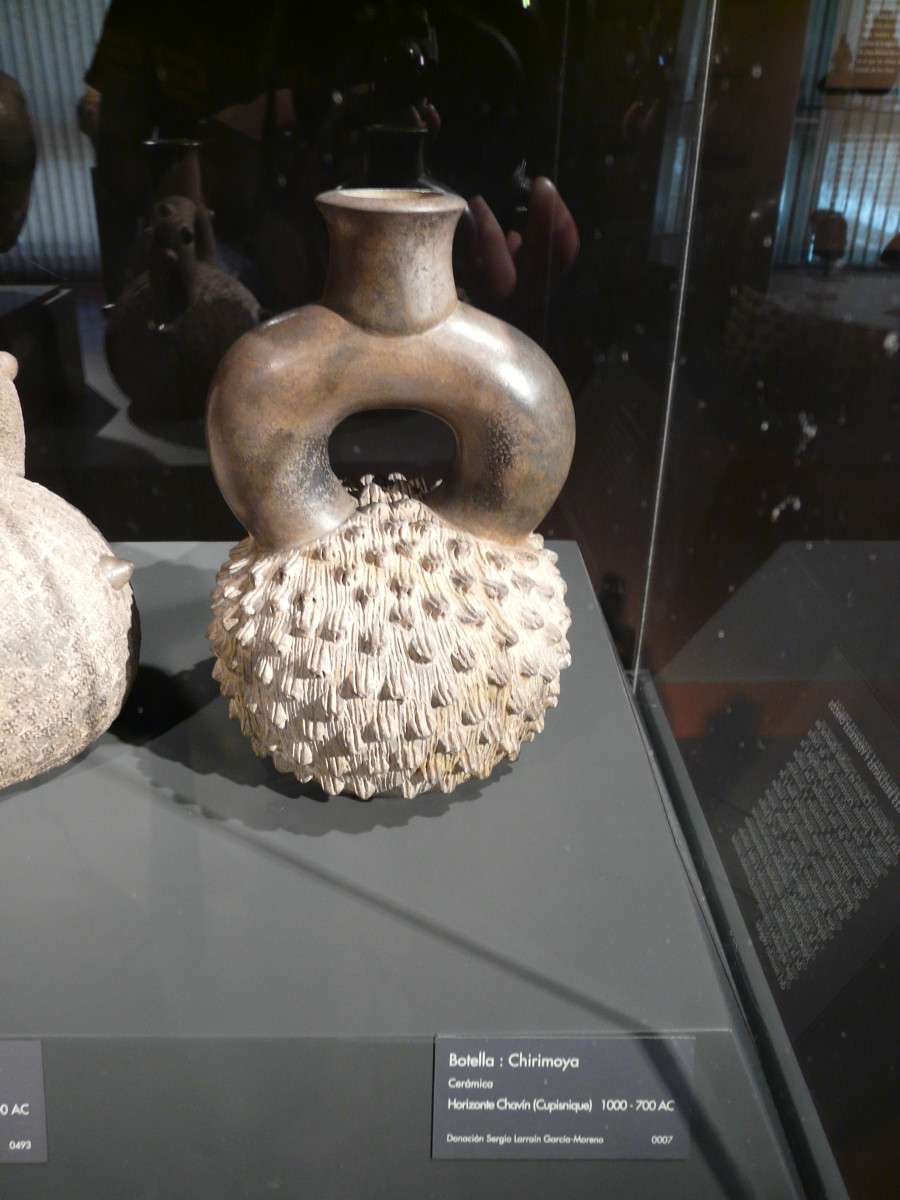 Cherimoya bottle from the Cupisnique culture in the Pre-Columbia Art Museum, Santiago, Chile.