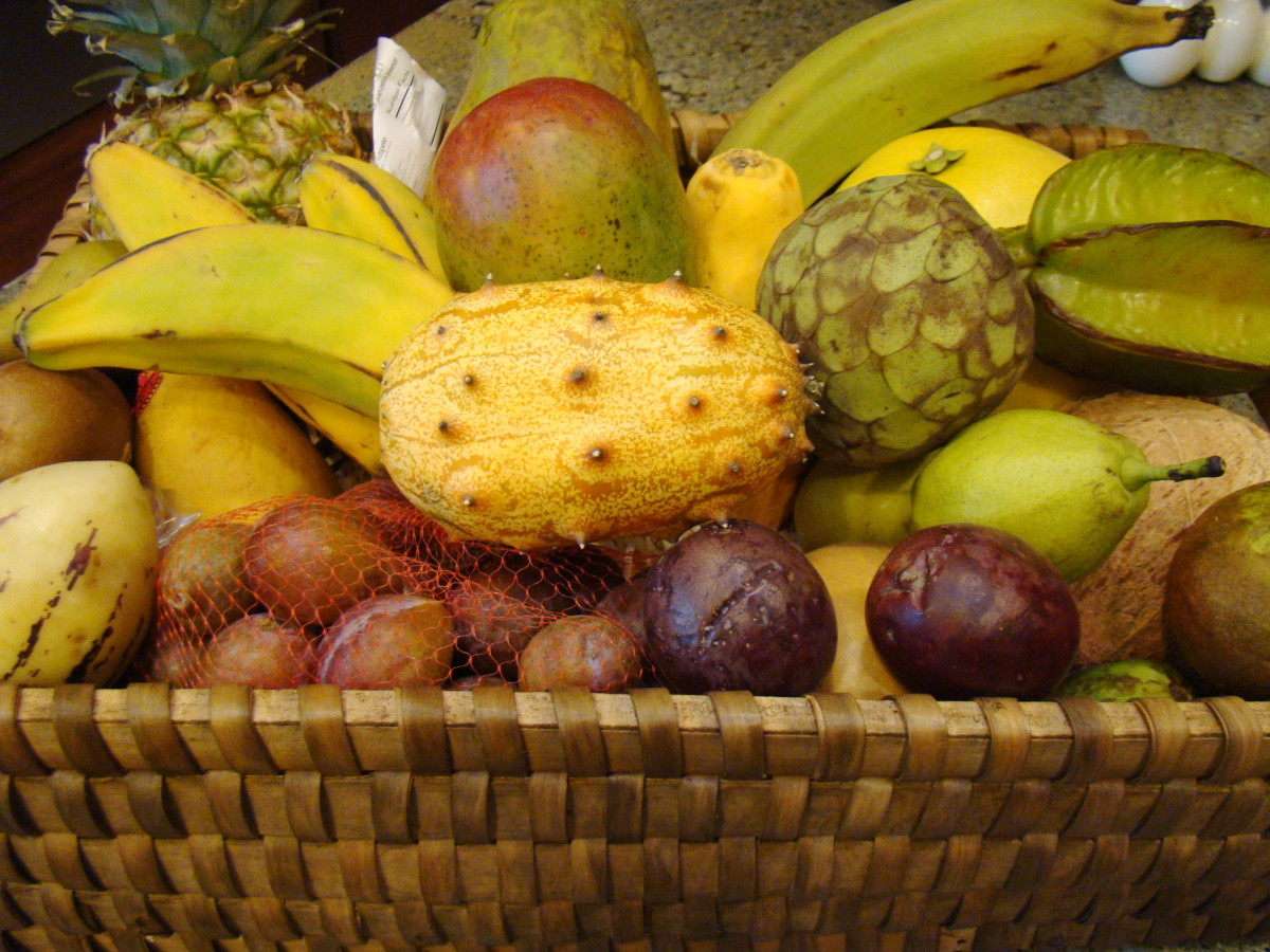 spot the cherimoya amongst the other exotic fruits.
