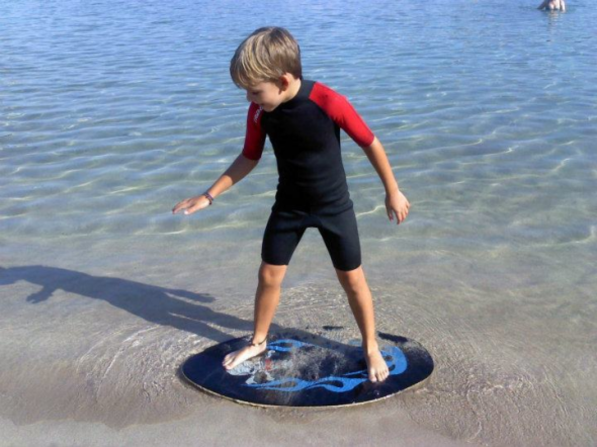 Practicing standing on the board