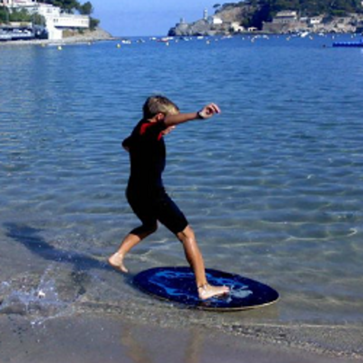 My son skimboarding in Mallorca