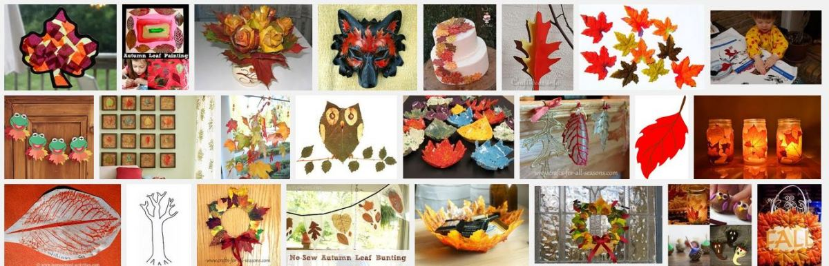 A screenshot of a few craft ideas using Autumn leaves