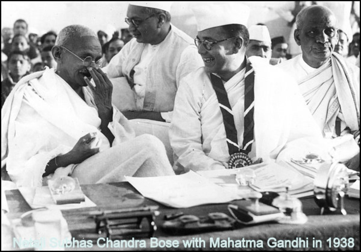 A 1938 image of Mahatma Gandhi and Netaji Subash Chandra Bose sharing a lighter moment. They did not share the same thoughts about ways to get Independence for India though...