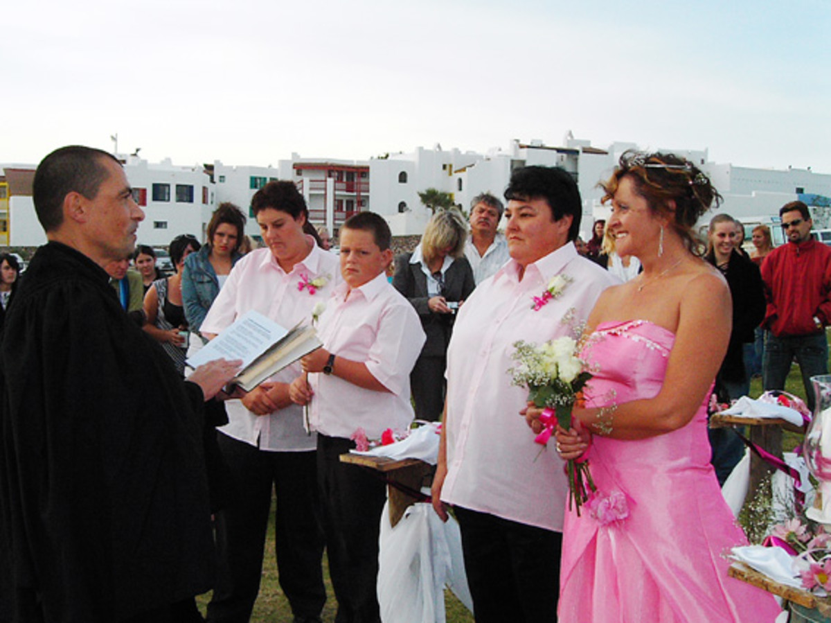 Marriage ceremony between a same-sex couple.