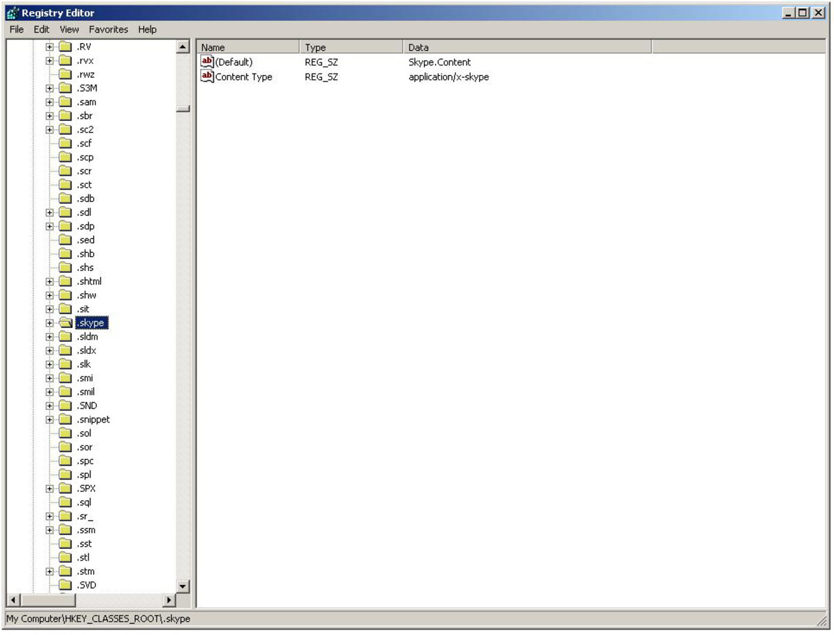 "Registry editor will populate a list of Skype entries on the right hand side ""Windows XP"" screenshot"