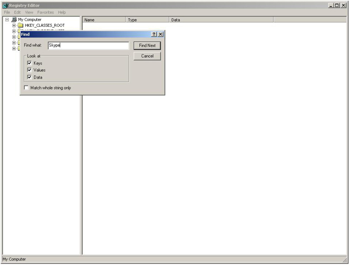 """In the box that appears, type Skype and click Find Next """"Windows XP """" screenshot"""
