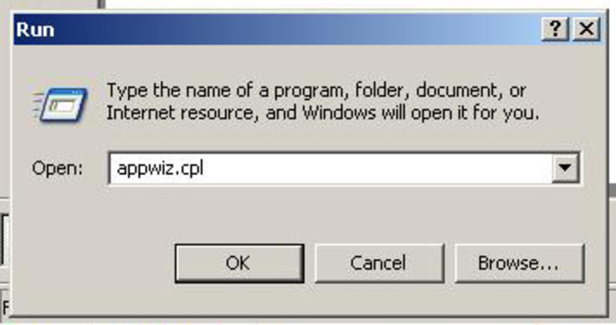 "Click start -  Click Run -  In the field box type appwiz.cpl -  Click OK ""Windows XP"" screenshot"