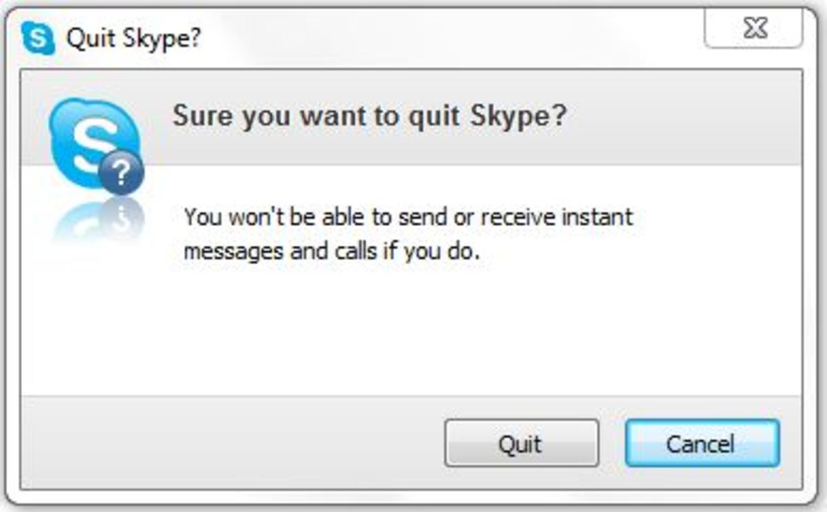 """The box that appears, asking you for confirmation, if you wish to Quit! Only for Windows 7, """"Windows 7"""" screenshot."""