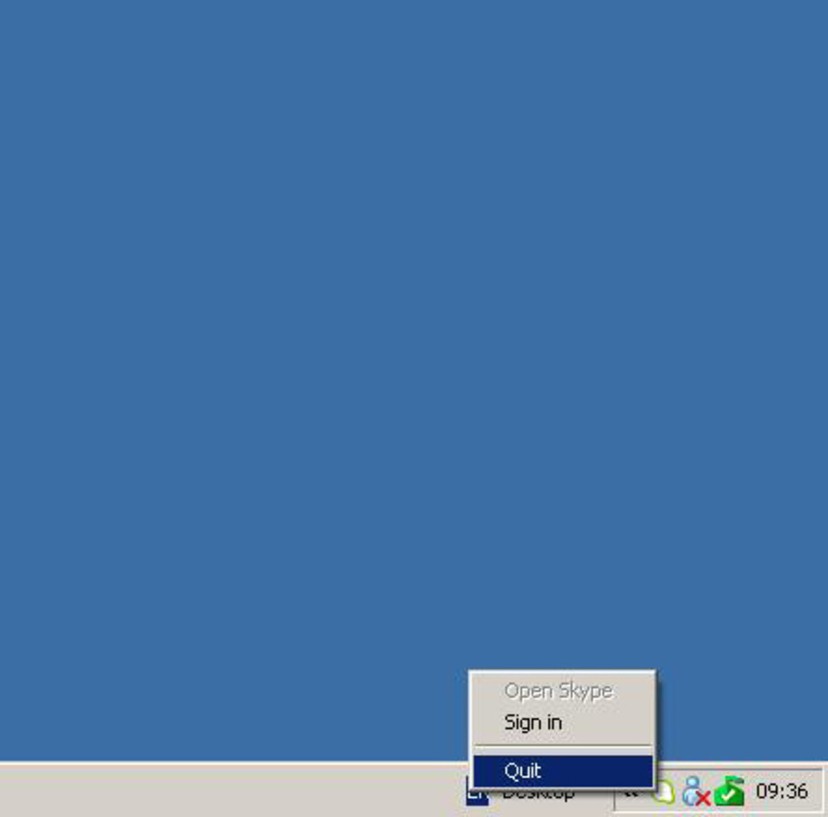 "Quitting Skype from Taskbar after closing from Skype Menu.  ""Windows XP"" screenshot"