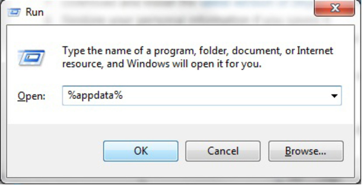 "Click on Start -  In the field box, type run and hit enter. In the box that appears type, %appdata% and click OK ""Windows 7"" screenshot"