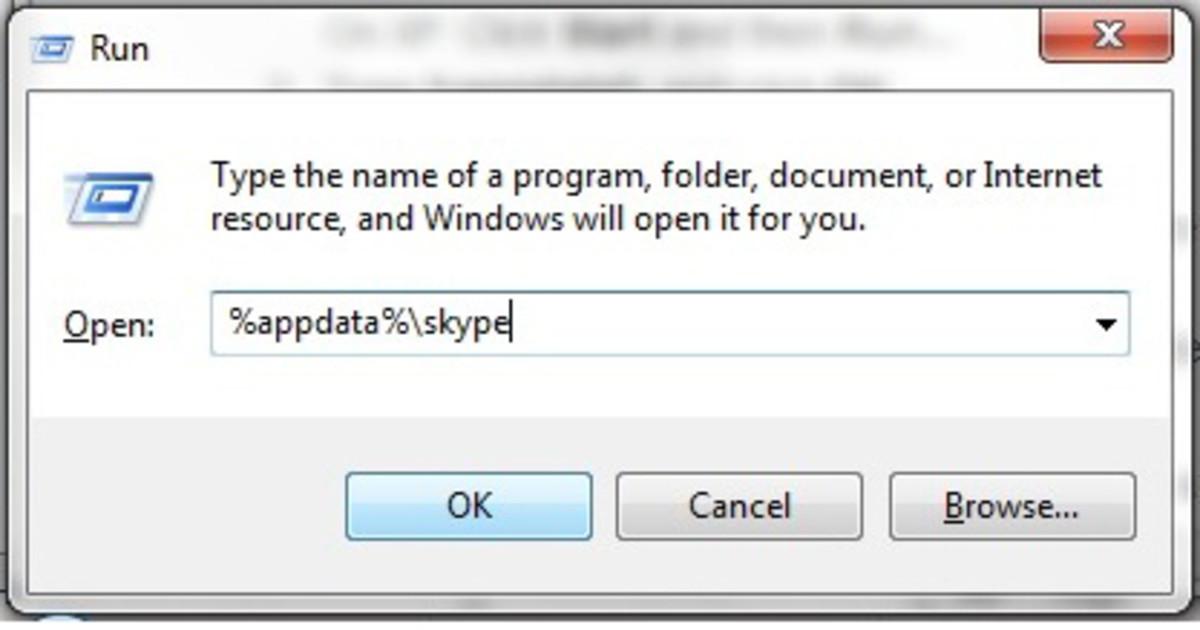 "Click on %appdata%\skype command, then click OK  ""Windows 7"" screenshot"