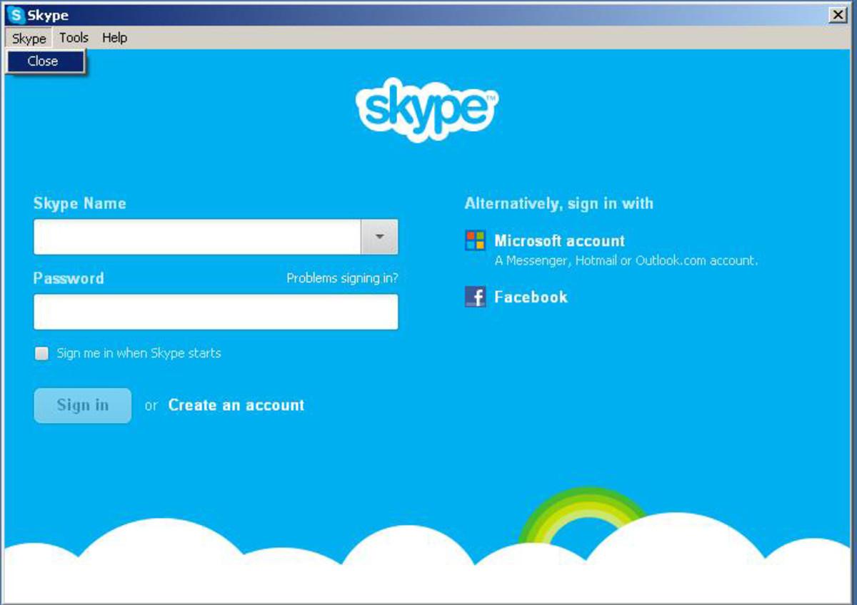 "Click on ""Close"" from Skype menu, to close Skype ""Windows XP screenshot"""