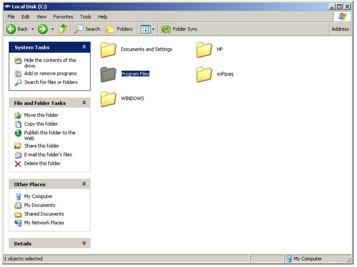 "Go into ""Program files"" folder.  ""Windows XP"" screenshot"