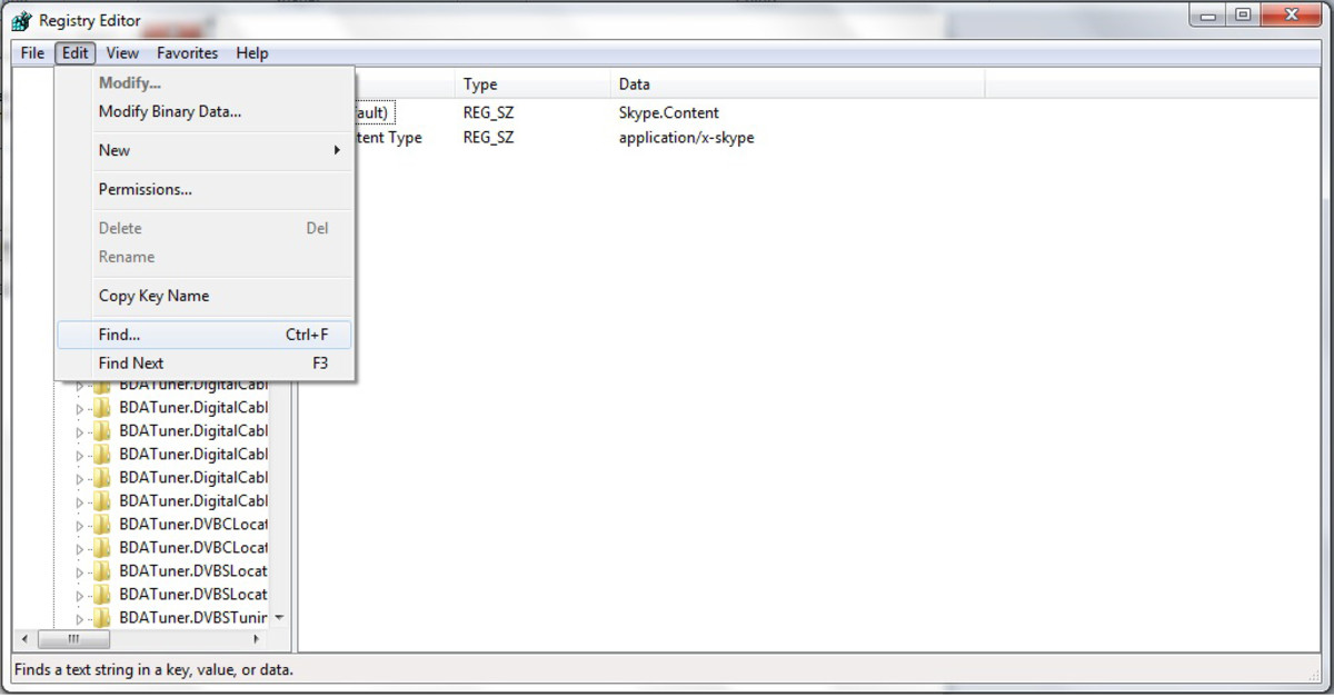 "You will be taken to the registry editor. In the edit menu, click find ""Windows 7"" screenshot"