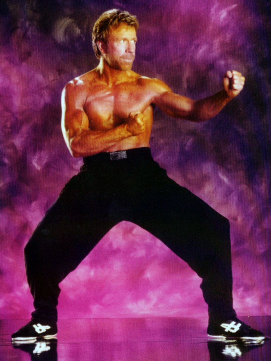 Chuck Norris in fighting Stance.