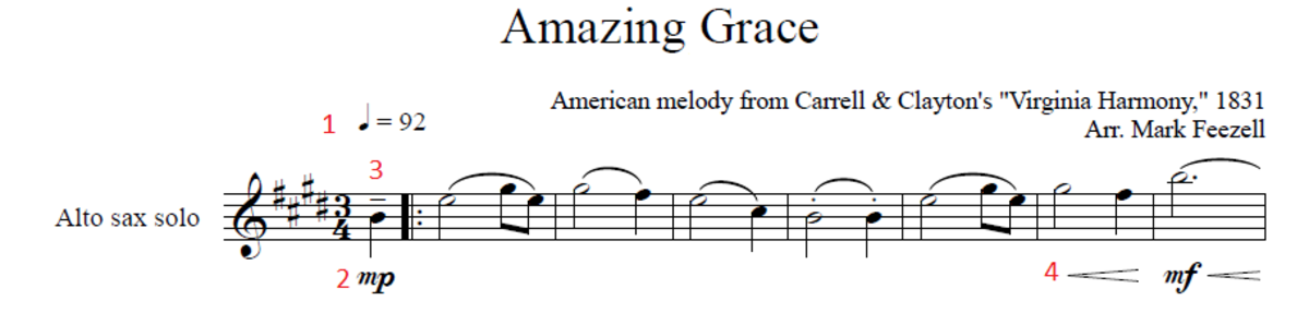 First line of Amazing Grace with the musical notation highlighted.
